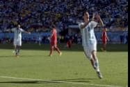 Argentina's Angel di Maria celebrates after scoring