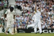 England's Chris Woakes celebrates taking the wicket of India's Ravichandran Ashwin
