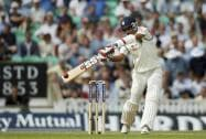 India's Bhuvneshwar Kumar hits a ball off the bowling of England's Chris Jordan