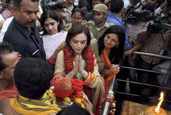 Nita Ambani during her visit to Ellamma Temple