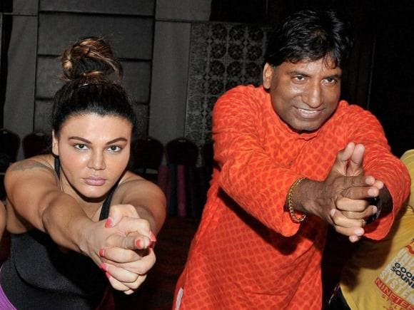 Rakhi Sawant, Raju Srivastav, Comedian, Yoga, World Yoga Day, International Yoga Day, Mumbai, Comedy