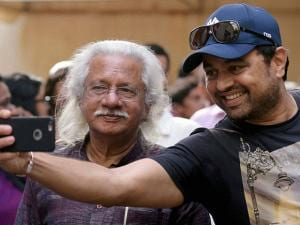 Adoor Gopalakrishnan along with actor Subodh Bhave during the celebration of his 50 years in Indian Cinema