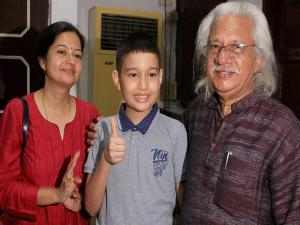 Adoor Gopalakrishnan with his daughter Aswati Dorge (IPS) and Grandson during the celebration of his 50 years in Indian Cinema