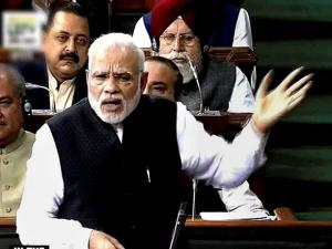 Prime Minister Narendra Modi speaks in Lok Sabha, in New Delhi