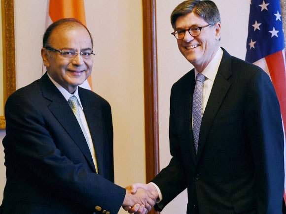 Finance Minister of India,  Arun Jaitley, US Treasury Secretary,  Jacob L Lew