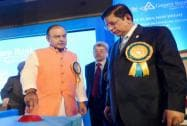 Union Finance Minister Arun Jaitley arrives for inauguration of 5011th branch of Canara Bank in New Delhi