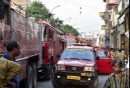 Fire tenders lined up in the Chandni Chowk after a fire broke out in a market on the area