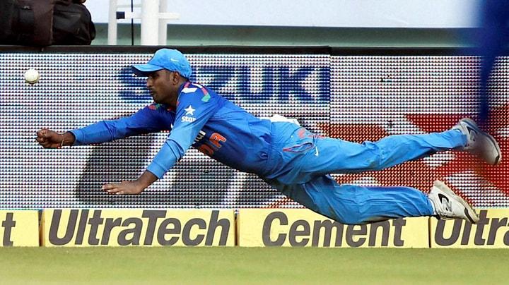 Cricketer, Ambati Rayudu, dives, stop, ball, first ODI match, against, West Indies, Jawaharlal Nehru Stadium, Kochi