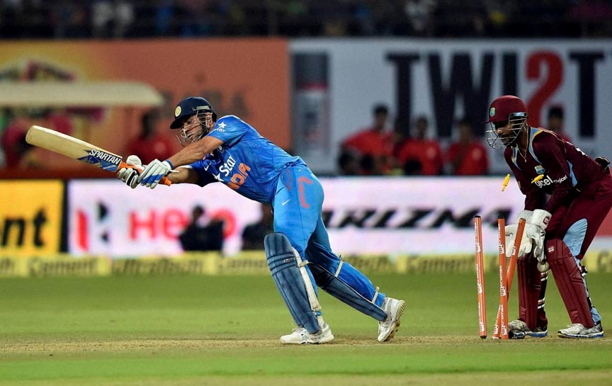 India's, MS Dhoni, bowled, out, West Indies', Darren Sammy,  first ODI match