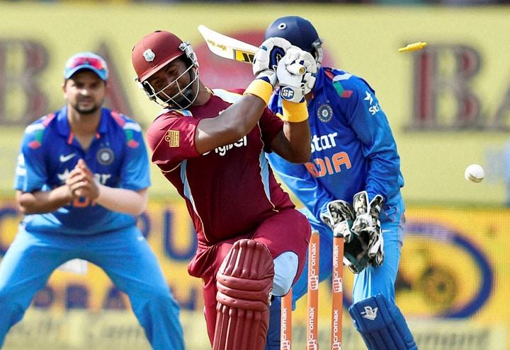 West Indies, Cricketer, Dwayne Smith, bowled out, India's, Ravindra Jadeja, first ODI match,  Jawaharlal Nehru Stadium, Kochi