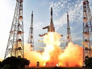 GSLV-F05 carrying INSAT-3DR takes off from Satish Dhawan Space Centre