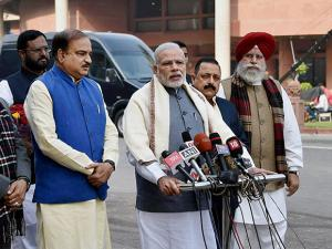 Prime Minister Narendra Modi along with Parliamentary Affairs Ministers