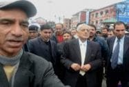 Chief Minister of Jammu and Kashmir Mufti Mohammad Sayeed along with Flood and Irrigation Minister Altaf Bukhari