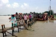 Adhir Ranjan Chawdhury visiting a flooded area in Murshidabad