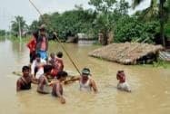 Flooded village at Bharatpur in Murshidabad