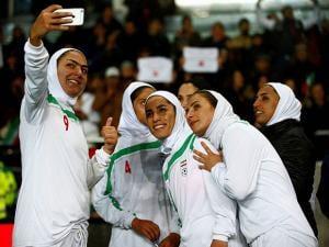 Iran's team players make a selfie photo after the international friendly soccer match between Sweden
