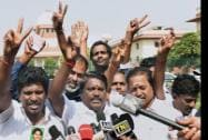 AIADMK supporters outside the Supreme Court after imprisoned former Chief Minister of Tamil Nadu, J. Jayalalitha