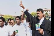 AIADMK supporters outside the Supreme Court after imprisoned former Chief Minister of Tamil Nadu, J. Jayalalitha was granted bail