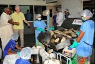 Former US President Bill Clinton during a visit to 'Akshaya Patra' kitchen in Jaipur