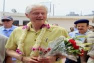 Former US President Bill Clinton is welcomed at 'Akshaya Patra' kitchen in Jaipur