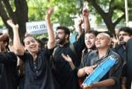 Students agitating for the removal of the FTII Chairman Gajendra Chauhan