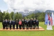 G-7 leaders and Outreach guests at the G-7 summit at Schloss Elmau hote