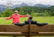 German chancellor  Angela Merkel  speaks with U.S. president  Barack Obama