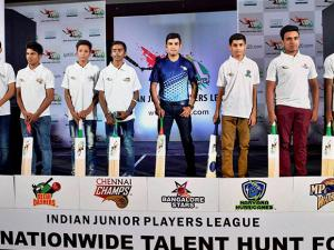 IJPL Gautam Gambhir with young players during the announcement of Indian Junior Player League (IJPL) T-20 tournament