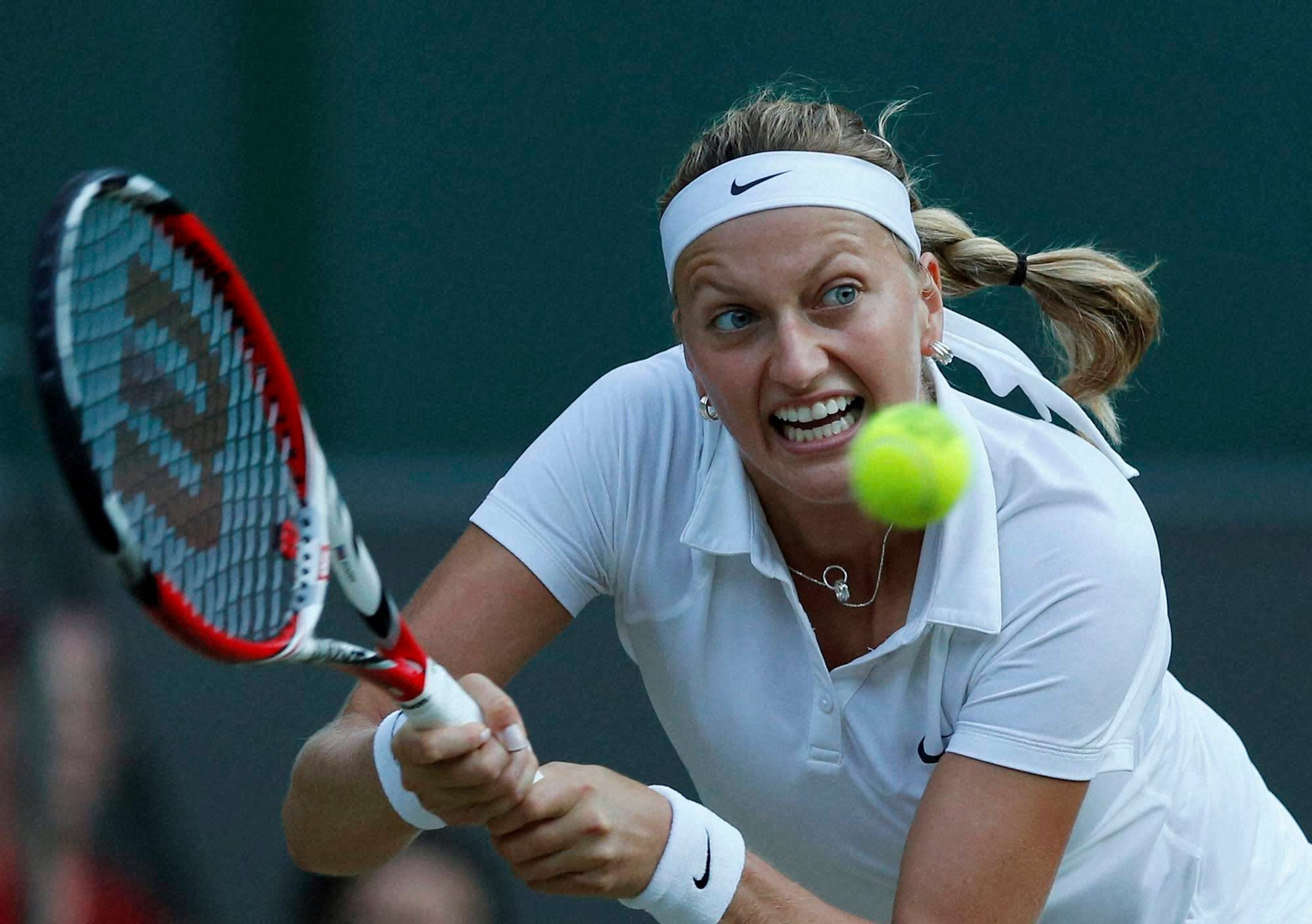 Petra Kvitova, women's quarterfinal match, Tennis Championships in Wimbledon, London,
