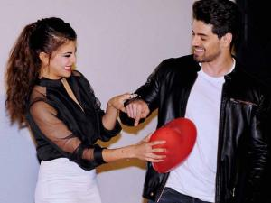Jacqueline Fernandez and Sooraj Pancholi during the release of teaser of the song GF BF  in Mumbai