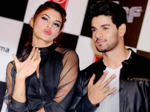 Jacqueline Fernandez and Sooraj Pancholi during_the release of teaser of the song GF BF  in Mumbai