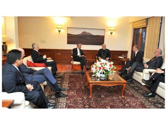 Prime Minister of India,  Narendra Modi, CEO of Deutsche Bank AG, India Finance Minister, Arun Jaitley, Anshu Jain, Make In India,