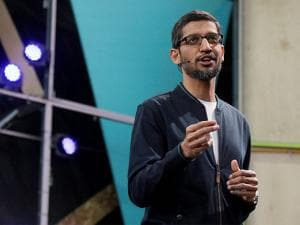 Google CEO Sundar Pichai delivers the keynote address of the Google IO conference