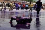 Government Employee's protest dispersed using Colored Water