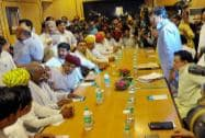 Gujjar community leader Kirori Singh Bainsla along with a delegation meeting with Rajasthan Cabinet Ministers