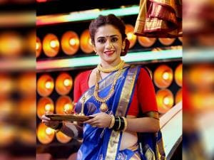 Actress Amruta Khanvilkar takes part in Maharashtrian new year Gudi Padwa celebrations