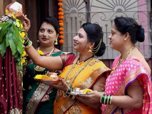 Maharashtrian women prepare for the celebration of Marathi new year Gudi Padwa