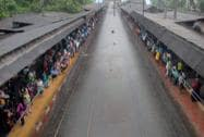Water logged railway tracks after heavy rainfall in Mumbai