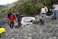 A vehicle stuck in debris