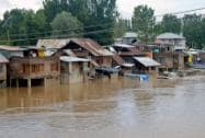 Submerged houses in flood water after two-days of continuous rainfall