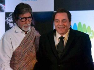 Dharmendra, , Amitabh Bachchan during the launch of  Hema Malini's music album Dream Girl 3