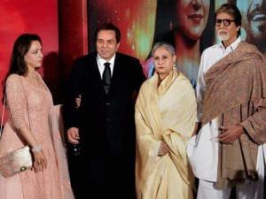 Dharmendra, Hema Malini, Amitabh Bachchan and Jaya Bachchan during the launch of  Hema Malini's music album Dream Girl 11