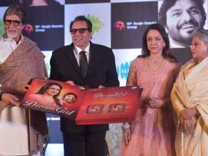Dharmendra, Hema Malini, Amitabh Bachchan and Jaya Bachchan during the launch of  Hema Malini's music album Dream Girl 4