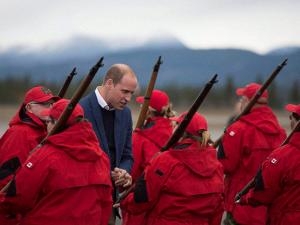Britain's Prince William greets members of the Canadian Rangers