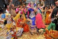 Lord Krishna and Radha, play Holi during 'Phag Mahotsav' in Jaipur
