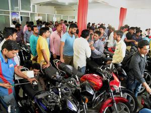 A view of vehicle showroom after offering discounts of up to Rs 12,500 on BS-III models to liquidate stocks