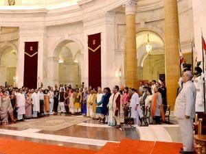 President Pranab Mukherjee presenting award at the Sangeet Natak Akademi's Fellowships and Akademi Awards - 2015
