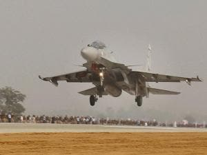 Fighter plane Sukhoi touches down  during the grand opening of Agra-Lucknow expressway