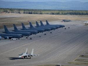 An Indian Air Force Su 30 MKI taxies out during Ex Red Flag 16-1 exercise at Eielson Air Force Base Alaska, USA