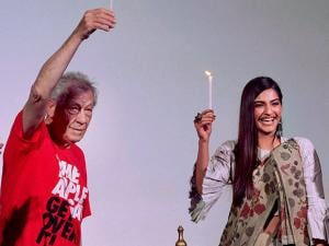 Sir Ian McKellen and Bollywood actress Sonam Kapoor inaugurate the Kashish Film Festival in Mumbai